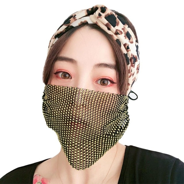 Rhinestone Pearl Face Mask Decorations for Women Bling Elasticity Crystal Cover Face Jewelry Cosplay Decor Party Gift