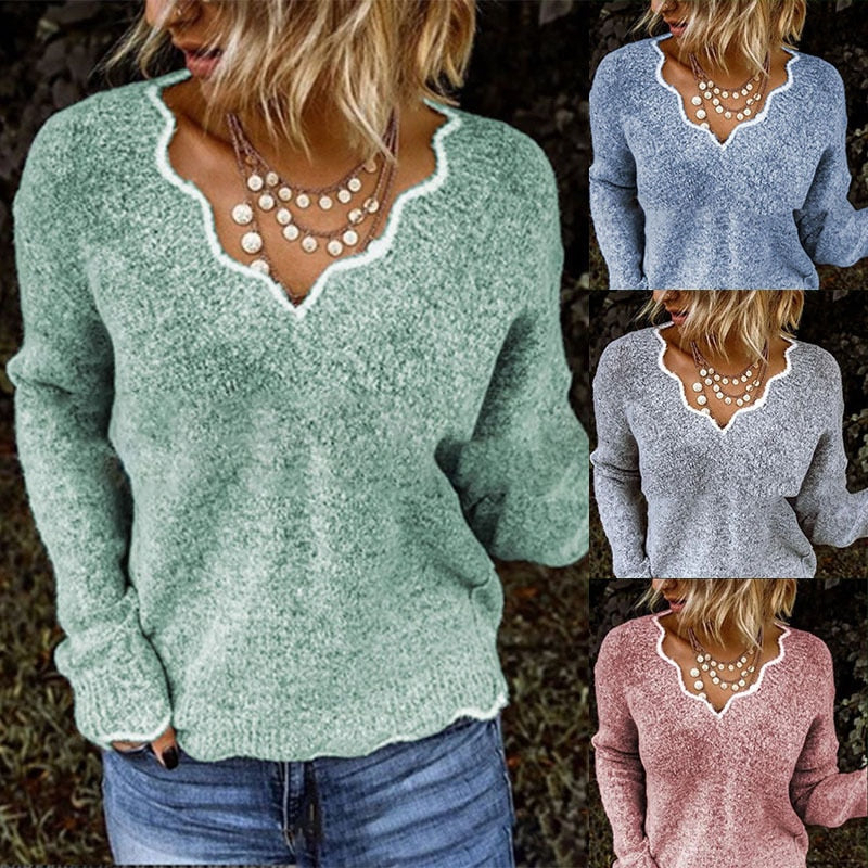Sexy Lace Flaky Clouds V-neck Knitted Sweater Tops