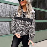 Women Sweatshirts Hoodies Long Sleeve Leopard V-neck Hooded Pullover Sweatshirt