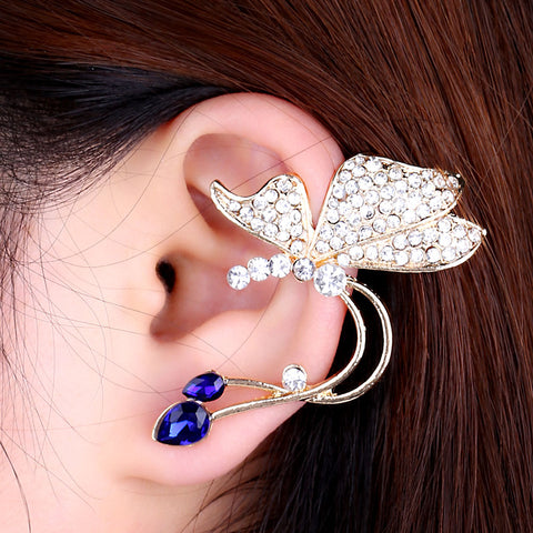 Crystal Ear Cuff  Hollow Butterfly Zircon Flowers Earcuff  Funcrional Clips Earrings