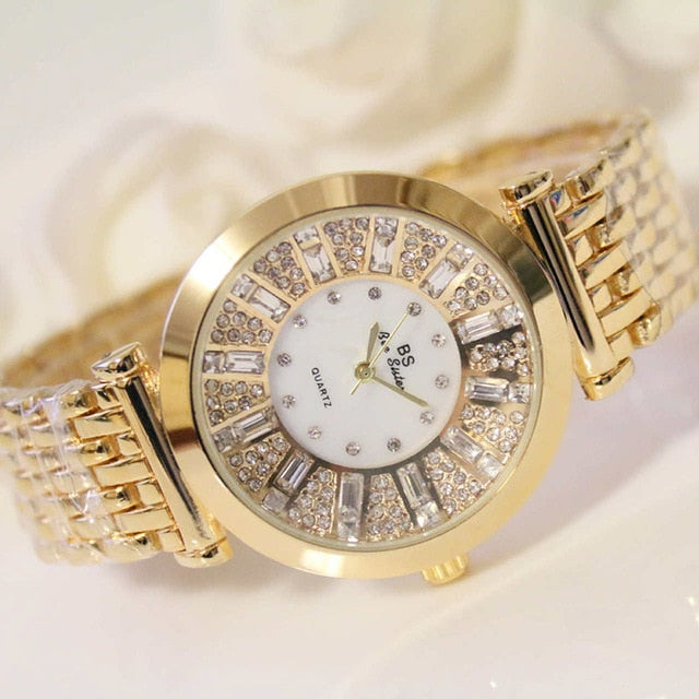 Rhinestone Wrist watch Elegant Dress Quartz Watch Luxury Famous Brand