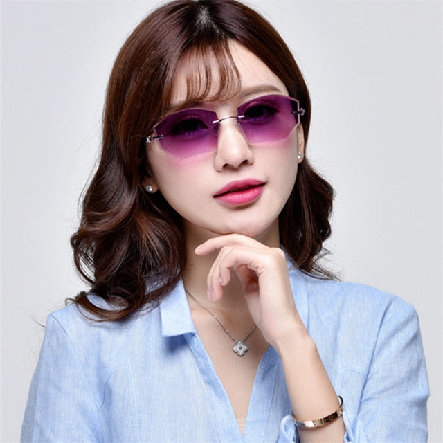 Designer Glasses Frameless diamond coloured ultra-light trimming glasses rimless prescription sunglasses