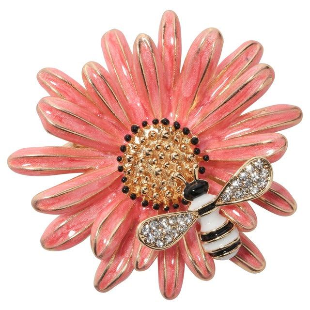 Brooch Pins Daisy Flower Enamel Bee Women Fashion Jewelry Gold Color