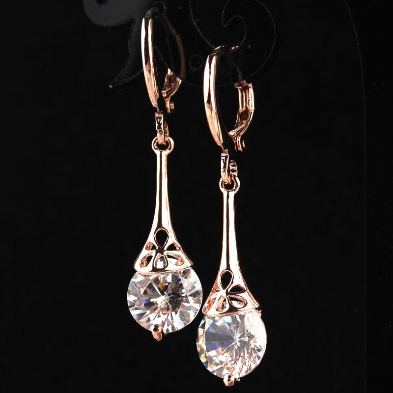Bling White CZ Stone Crystal Pierced Dangle Drop Earrings Jewelry Rose Gold-color