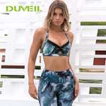 Patchwork Coconut tree Printed Yoga Vest+Yoga Set Bodybuilding