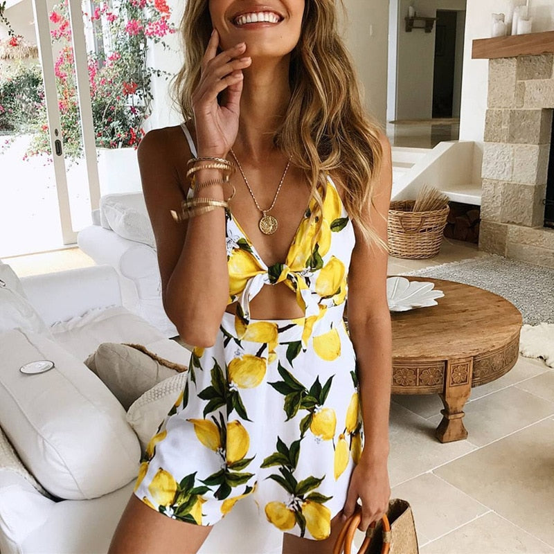 Backless Lace Up Floral Print Rompers Jumpsuit Women Off Shoulder Lady Casual Playsuits