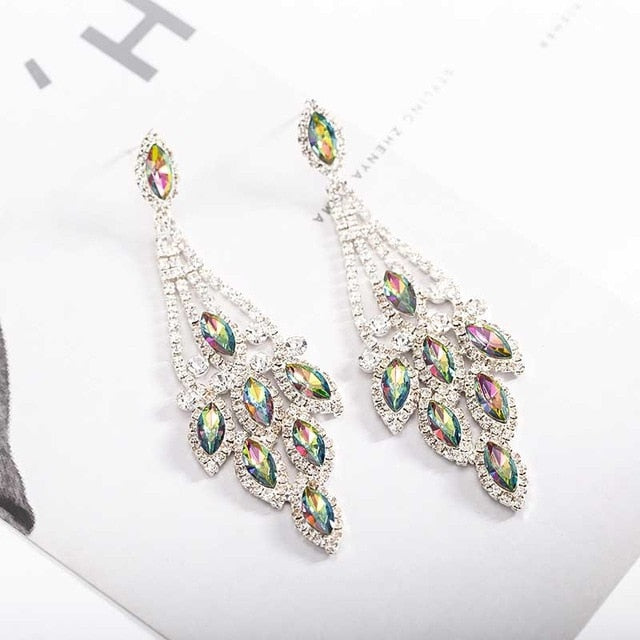 Bling Bling Multicolor Water Drop Wedding Fine Jewelry Women Long Dangle Earrings