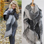 Plaid Scarf Wrap Shawl Plaid Scarf Large Scarves Long Cashmere Winter Wool Blend Soft Warm
