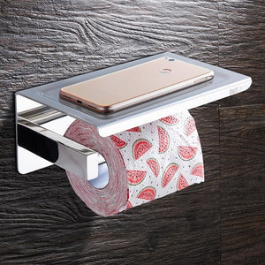 Stainless Steel Wall Mounted Double Layer Roll Paper Rack Mobile Phone Holder