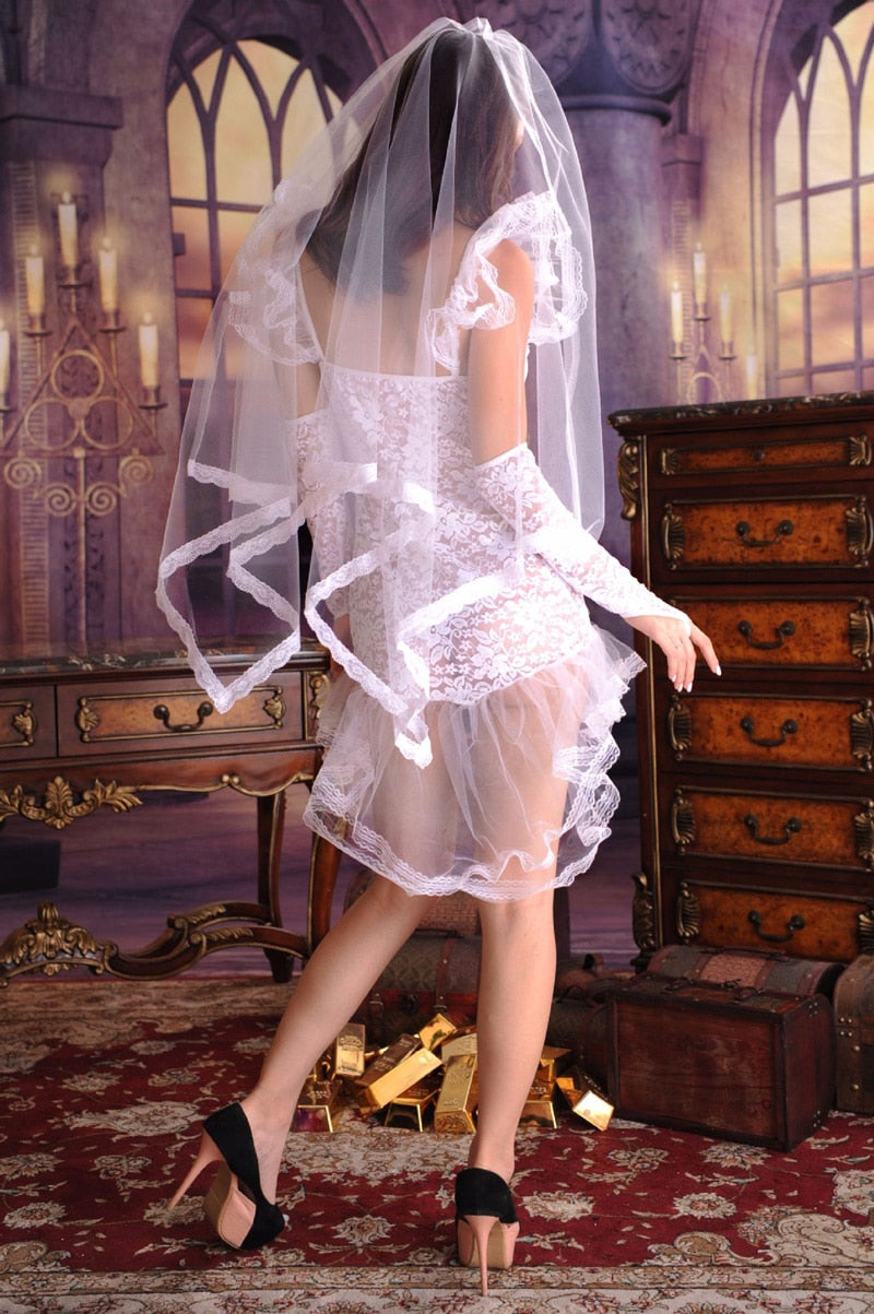 Bridal BabyDoll Transparent Nightgown White Wedding Dress Lingerie Lace