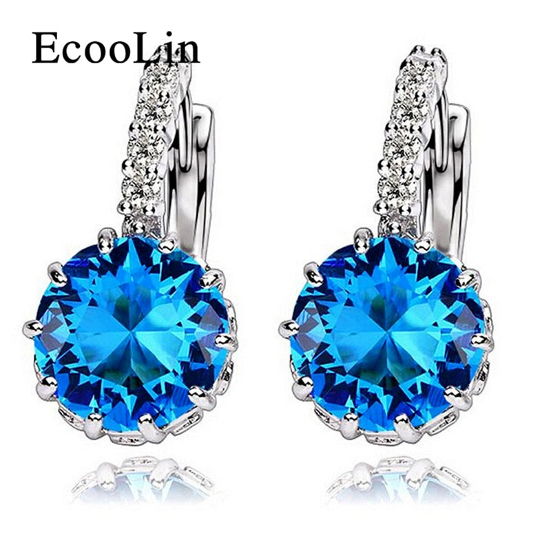 Bling AAA CZ Zircon Blue Stud Earrings For Women