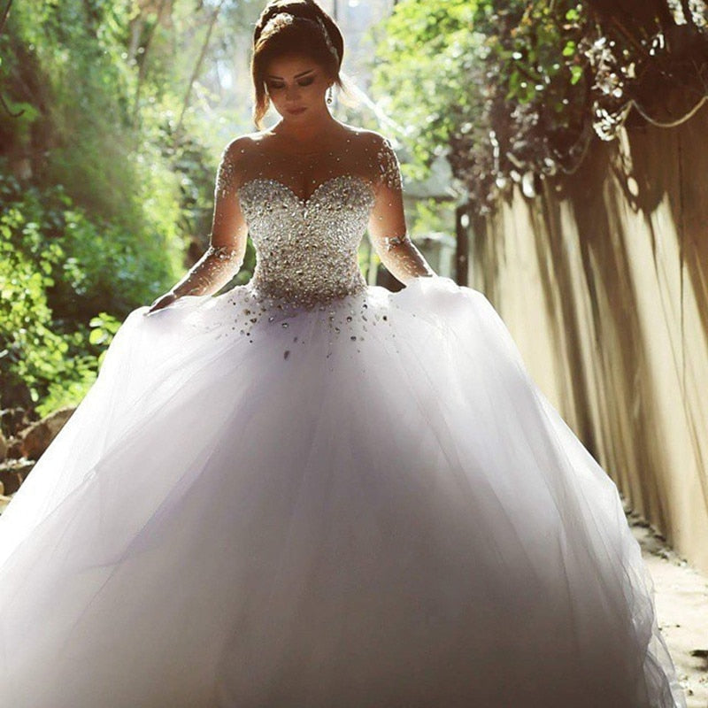 Crystal Sweetheart Ball Gown Wedding Gown Long Sleeve Wedding Dress Beading