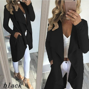 4XL Long Sleeve Lapel Collar Cardigan Trench Coat Women Plus Size Pockets Slim Outerwear Jacket