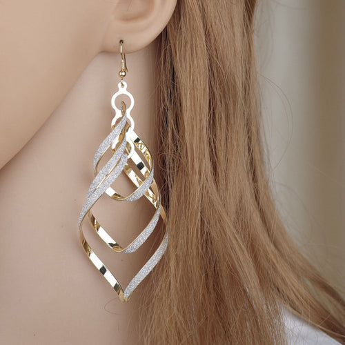 Bling Gold Filled Spiral Scrub Long Dangle Drop Earrings Jewelry Gifts Beautiful Flawless