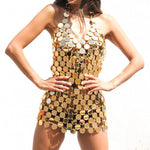 Bling Deep V Neck Beach Nightclub Acrylic Sequin Backless Mini Dress Silver Gold