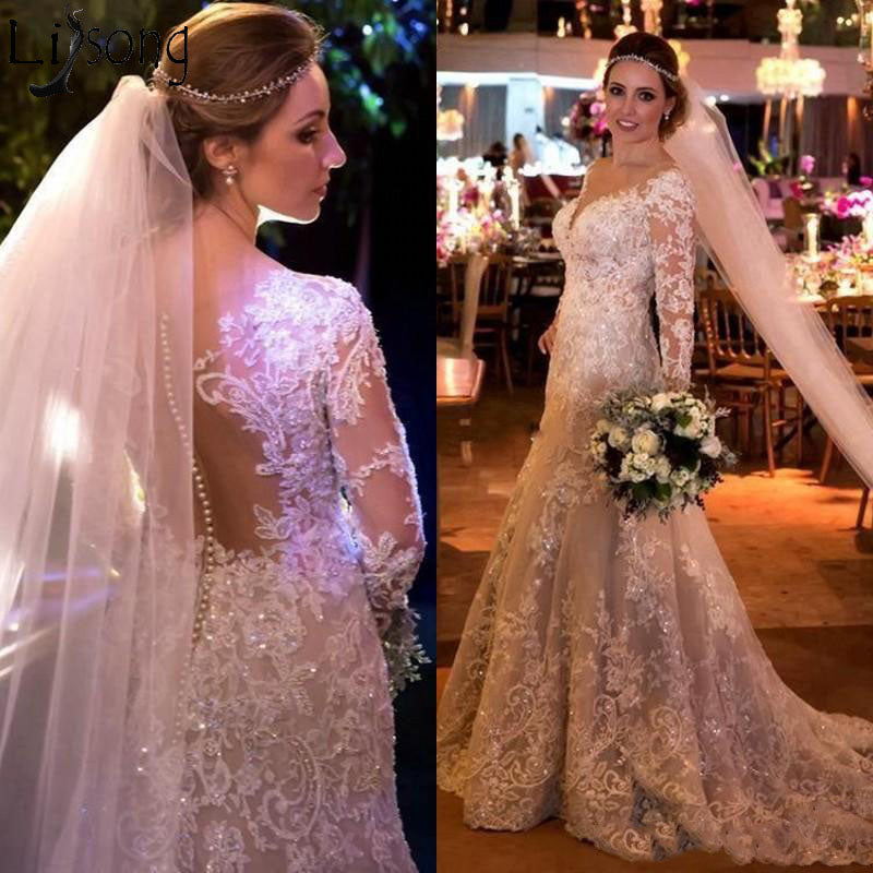 Sparkly Mermaid Crystal Lace Applique Long Sleeve Wedding Gown Custom