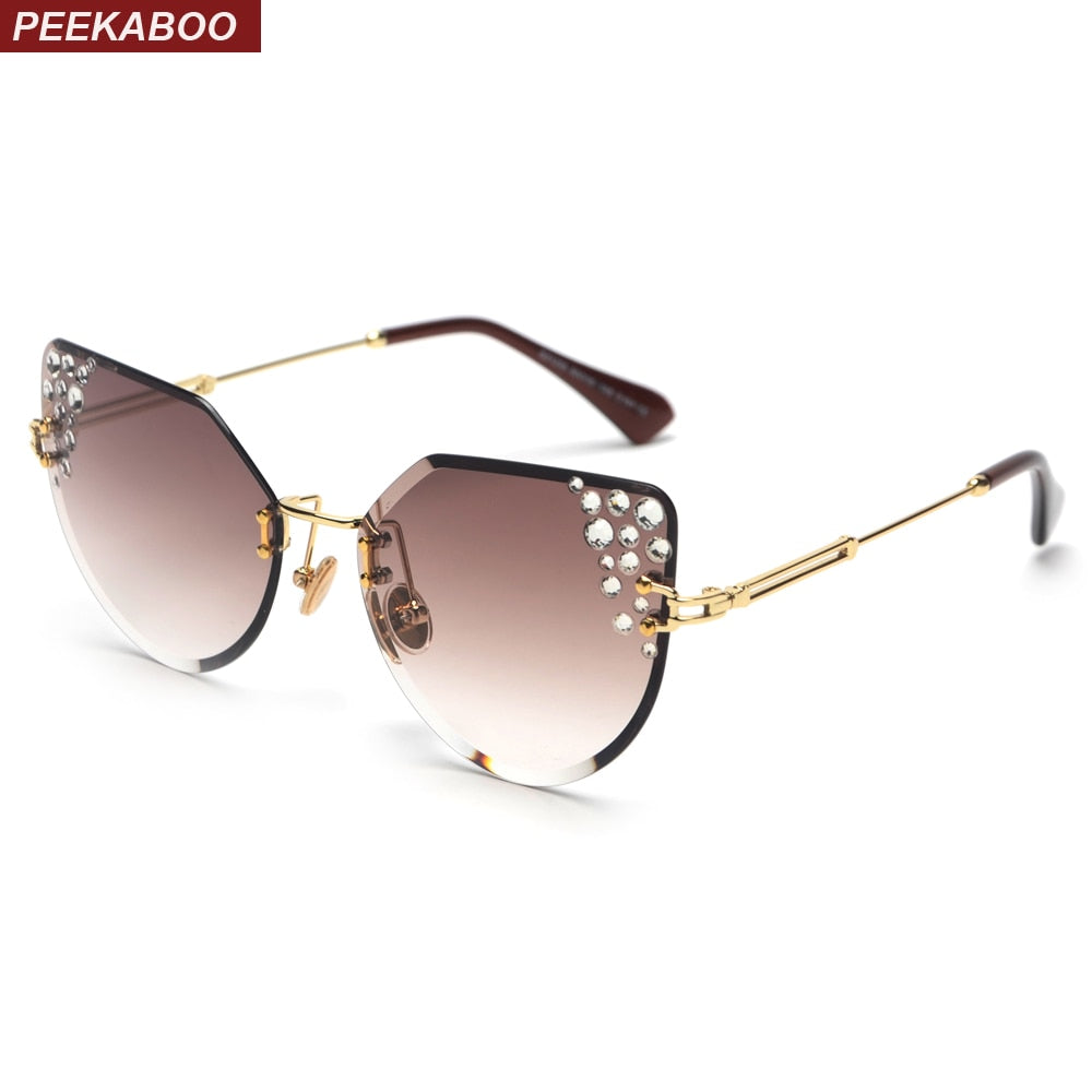 Rimless rhinestone cat eye sunglasses frameless uv400