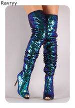 Bling bling peacock blue woman's long boots peep toe thin heel