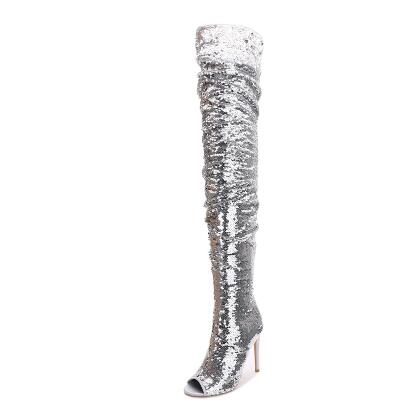 Bling bling silver luxury woman's long boots peep toe thin heel over-the-knee boot