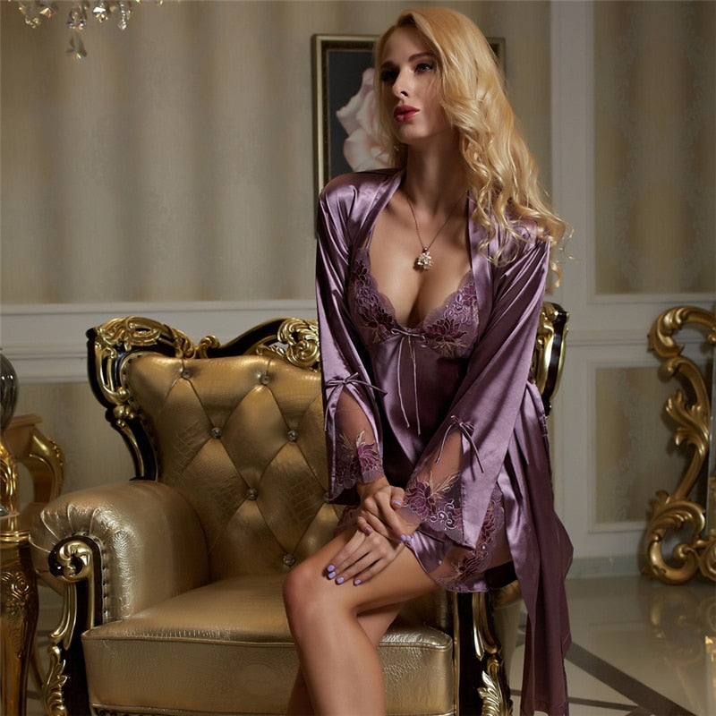Sexy V-Neck Embroidery Robes Nightdress Sets Purple Faux Silk Bathrobe