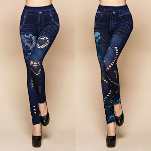 Hollow Cut Elastic Pants Flower Print Skinny Jeans Denim Leggings