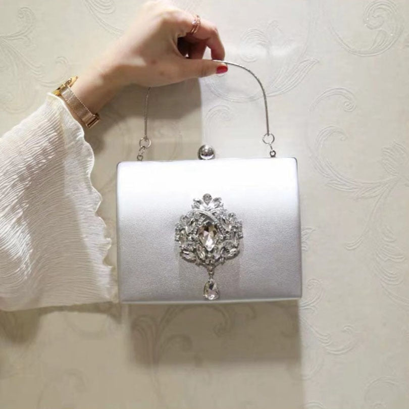 Bling Crossbody Shoulder Bag For Wedding  Crystal Day Clutch Velour Rhinestones Diamonds