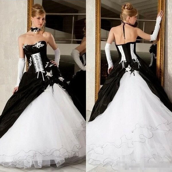 Black And White Vintage Wedding Dresses Lace-Up Corset Victorian Gothic Plus Size Piping Bridal Gowns