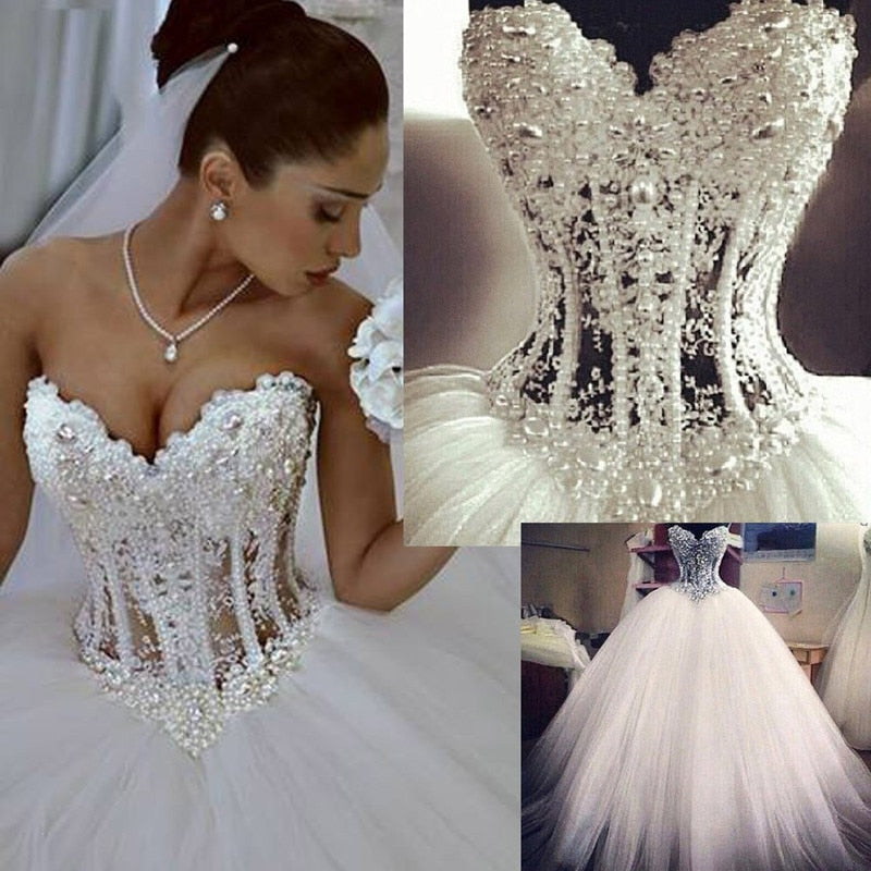 Lace Beading Crystal Luxury Vintage Wedding Gowns Ball Gown Wedding Dresses Sweetheart