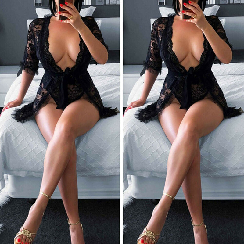 See Through Black Lace Robe Sleepwear Dress Babydoll Nightgown Robe Sleepwear