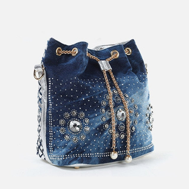 Denim Handbag with Gold Chain Casual Bling Rhinestone Jeans Shoulder Bag