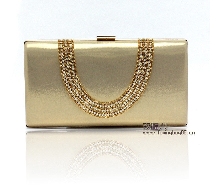 Rhinestone Clutches Crystal Bling Gold Clutch Bag Evening Black/Silver Wedding