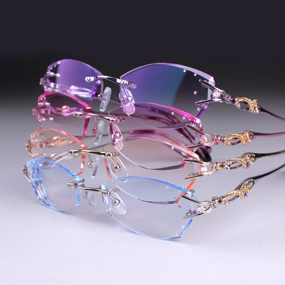 Prescription glasses Women Rimless Eyeglasses Customized myopia hyperopia glasses Progressive Optical glasses