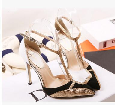 High Heel 10.5CM Shoes Women Pointed Toe Pumps Car Show Sandals Banquet Shoes