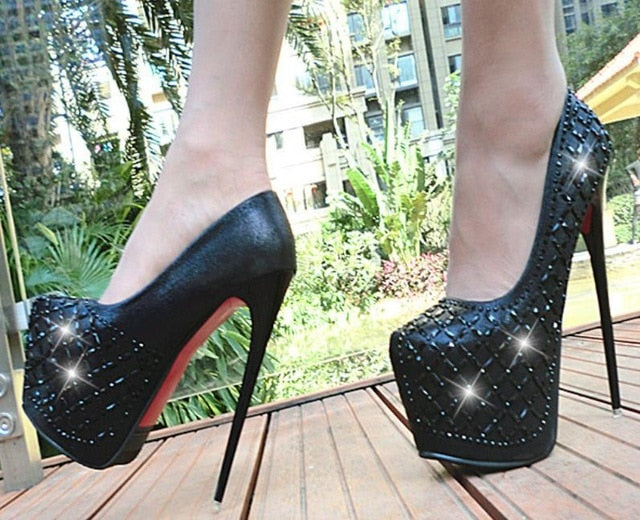 Sky high Bling High Heel Shoes 17CM black super high heel nightclub walk