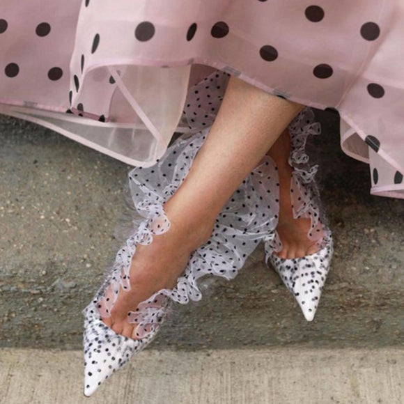 Polka Dot High Heels PVC Mesh Openwork Sexy Pointed  Pumps
