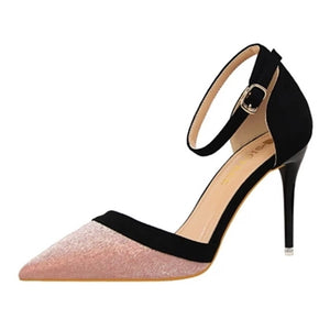 silver sequins mixed colors hollow pointed fine ultra high heels shoes