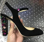 Jeweled Square Heels Diamond Pumps Black Suede Ankle Strap Heels 10CM