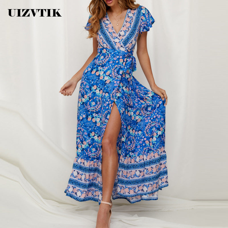 Deep V Neck Split Party Dress Female Casual Print Beach Maxi Dress