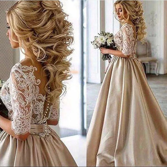 Wedding party lace Dress Formal pattern Party Gown prom robe half sleeves