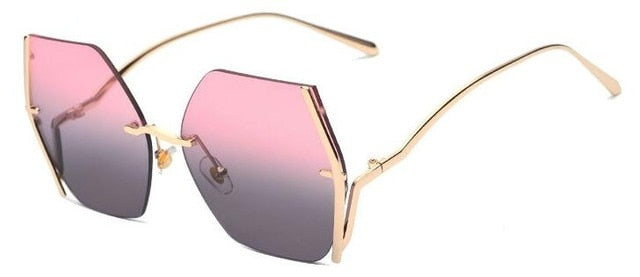 Frameless Oversized Sunglasses Women Metal Big Shades Brown Gradient Sunglasses UV400O