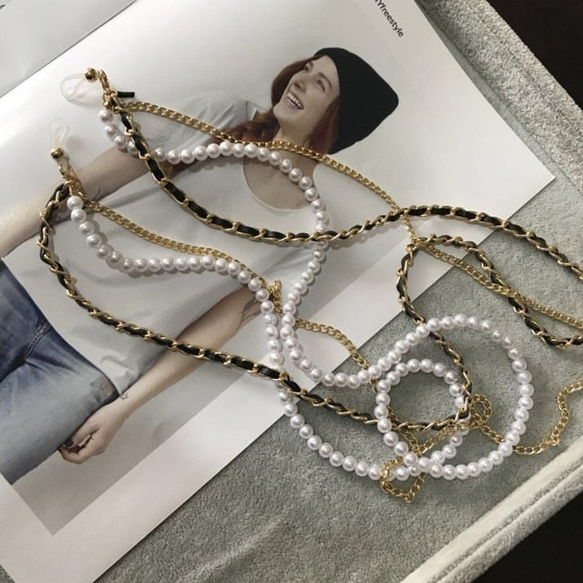 Sunglasses Chain Multi-layer White Pearl  Chain For Sunglasses