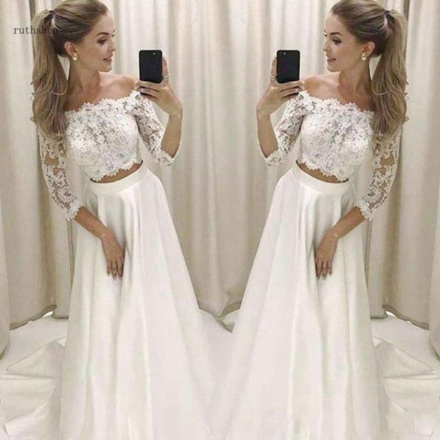3/4 Long Sleeve Off The Shoulder Two Piece Wedding Dress A Line lace jacket