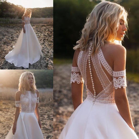 Jewel Lace Satin Bridal Gowns Button Back Beach A-Line Wedding Dress