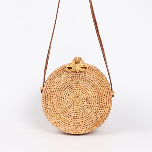 Summer Rattan Bag Handmade Woven Beach Cross Body Bag Circle Handbag