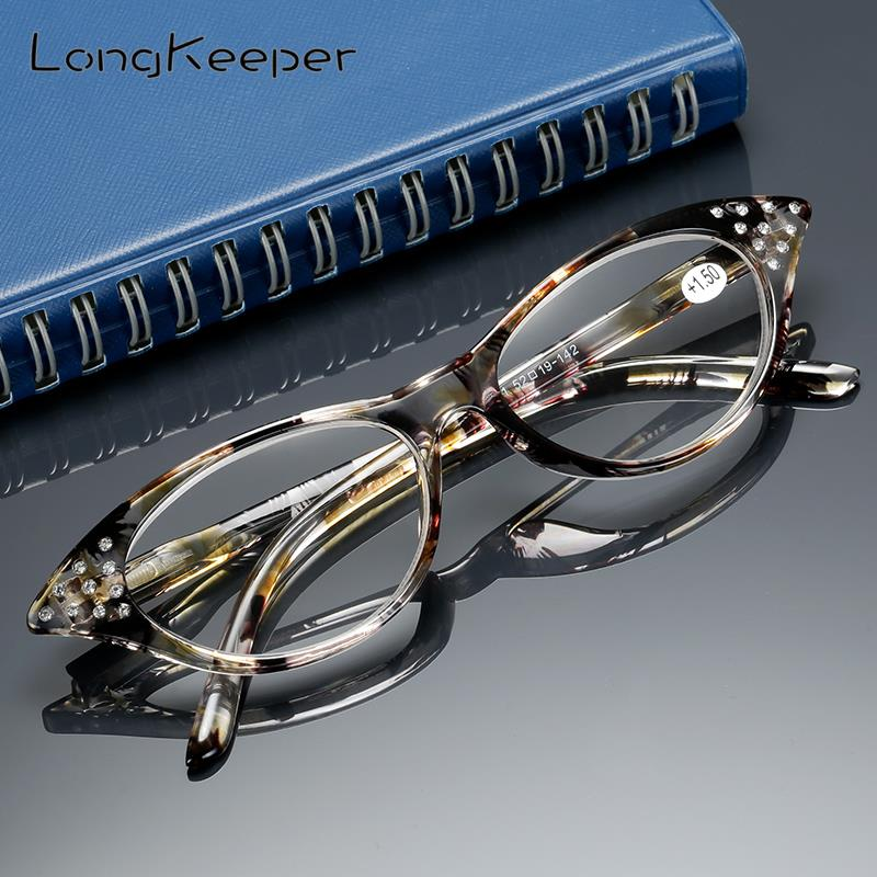 Rhinestone Cat Eye Reading Glasses for Farsighted Women's with Diopters