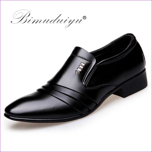 PU Leather Fashion Men Business Dress Loafers Pointy Black Shoes Oxford Breathable Formal Wedding Shoes - Mens Shoes cf-color-black Mens