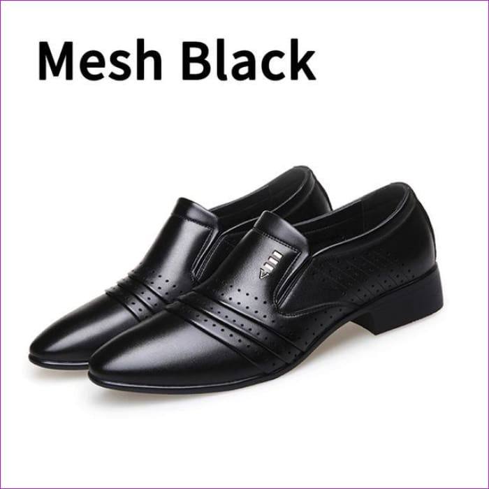 PU Leather Fashion Men Business Dress Loafers Pointy Black Shoes Oxford Breathable Formal Wedding Shoes - Mesh black / 10.5 - Mens Shoes
