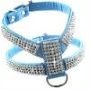 PU leather Rhinestones Small medium dog harness and collar set Exquisite Crystal diamond pet necklace for cats dogs lead leash - Blue / XS -