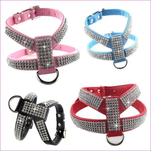 PU leather Rhinestones Small medium dog harness and collar set Exquisite Crystal diamond pet necklace for cats dogs lead leash - Pets