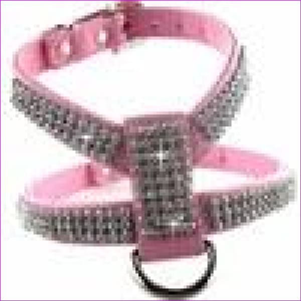 PU leather Rhinestones Small medium dog harness and collar set Exquisite Crystal diamond pet necklace for cats dogs lead leash - Pink / XS -